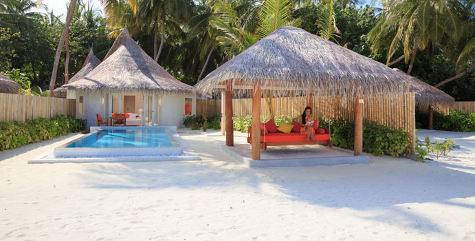 Deluxe Beach Villa with Pool, Aussenansicht, Sun Aqua Vilu Reef Maldives