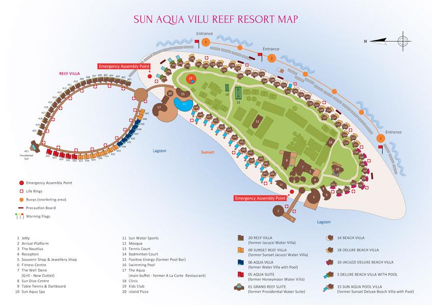 Lageplan Sun Aqua Vilu Reef Maldives