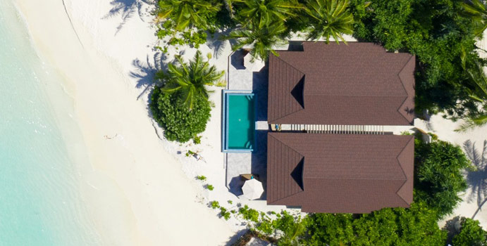 Luftaufnahme, 2 Bedroom Lagoon Beach Villa | The Standard Maldives
