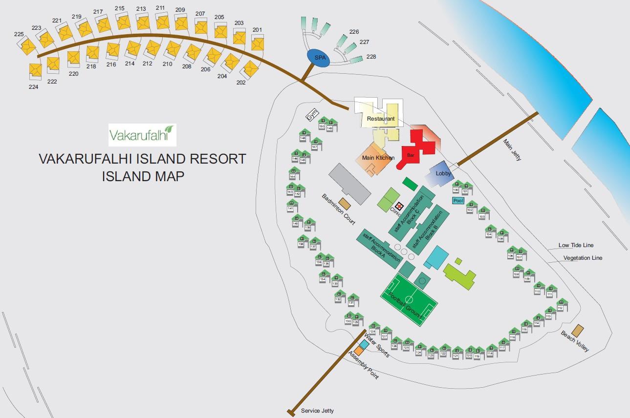 Lageplan Vakarufalhi Island Resort