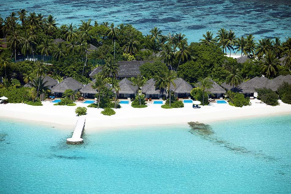 Blick auf die Beach Villen, Velassaru Maldives