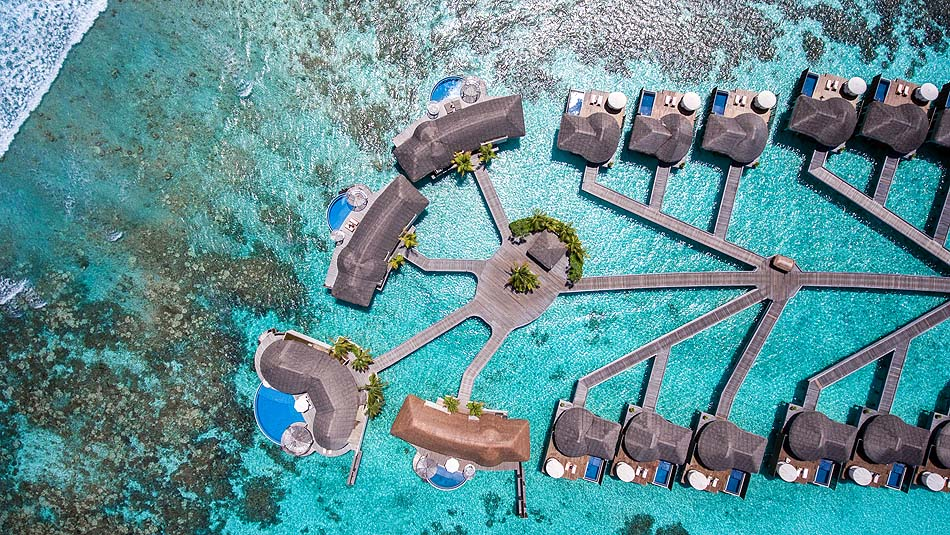Watervillas von oben, W Retreat & Spa Maldives